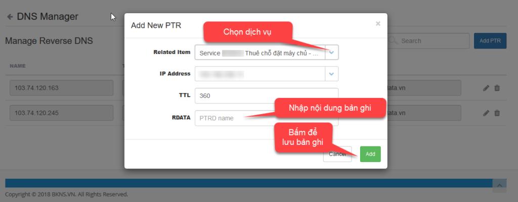 Thêm bản ghi PTR mới dành cho dịch vụ server nhiều IP
