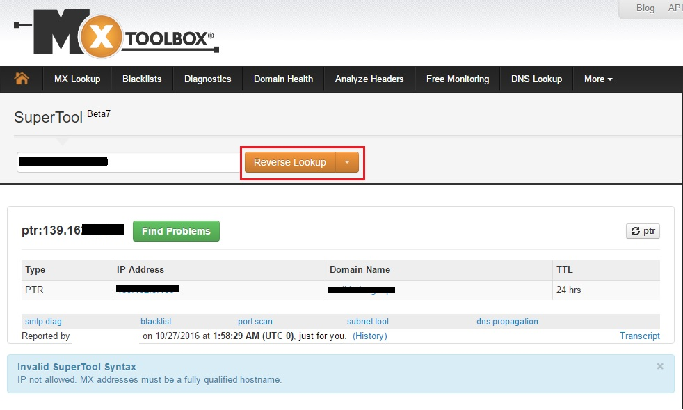 Nhập IP server của bạn và chọnReverse Lookupđể kiểm traIP