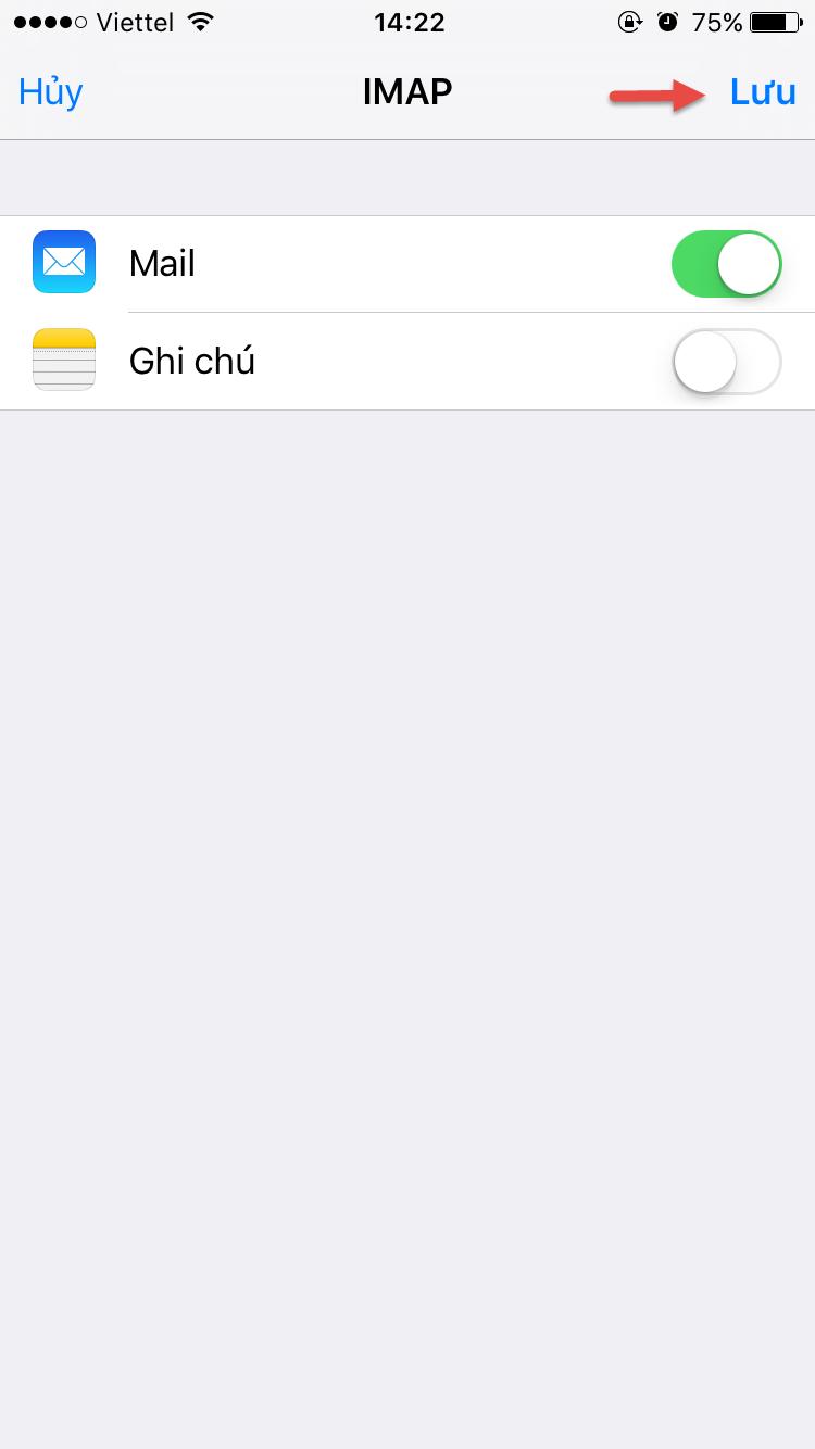 Tài khoản mail mới trên iOS đã được cài đặt thành công