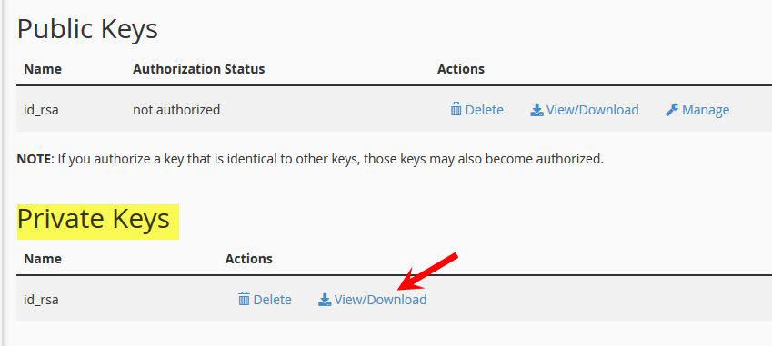 Dưới tab Private Keys quý khách click View/Download ở phần key vừa tạo.