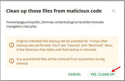 Khi lựa chọn Xóa mã độc hệ thống cố gắng để tìm và loại bỏ mã độc trong file