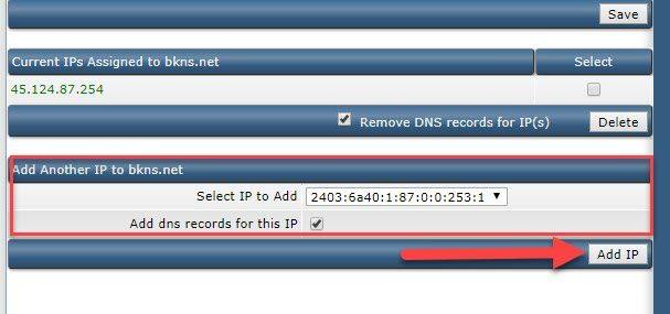 Tại cửa sổ này quý khách chọn IPv6 cần add và click Add IP để hoàn tất