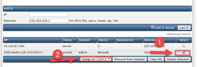 Gán IPv6 cho reseller là admin