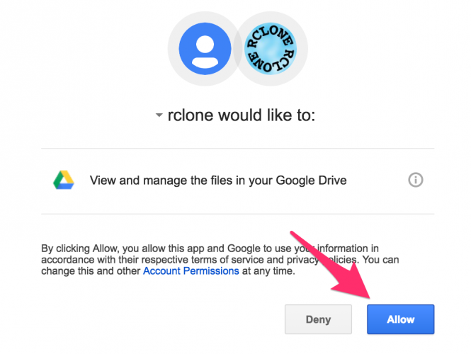 Giao diện sau khi bạn click vào một đường link mà Rclone  đưa ra