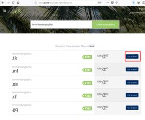 Website Dot.tk của Dot TK cho phép đăng ký Domain miễn phí