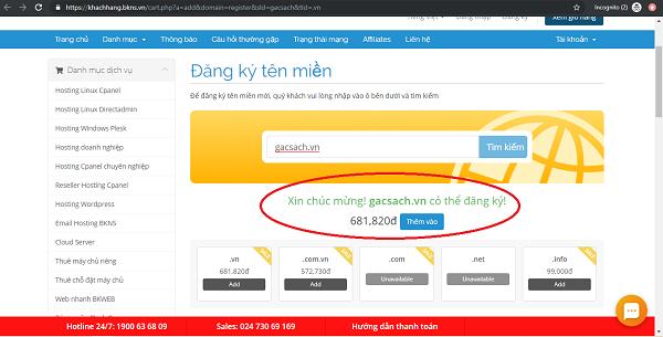 """Bạn muốn đăng ký tên miền """"gacsach.vn"""", click vào """"ĐĂNG KÝ"""""""