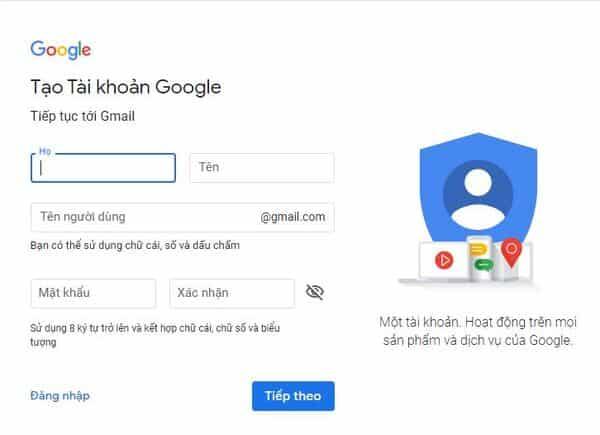 Tạo tài khoản google trên máy tính