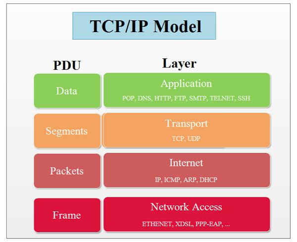 TCP/IP gồm 4 tầng là vật lý, tầng mạng, giao vận và ứng dụng