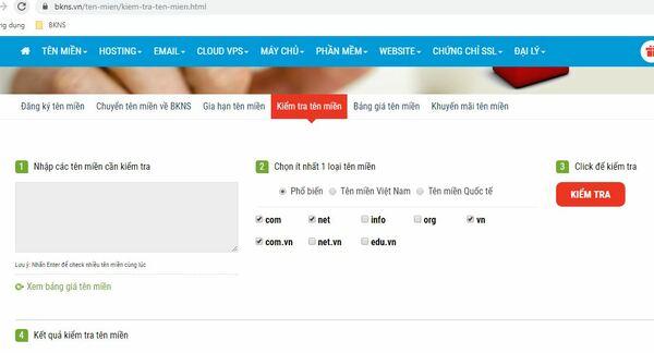 Truy cập website bkns.com để tra cứu tên miền