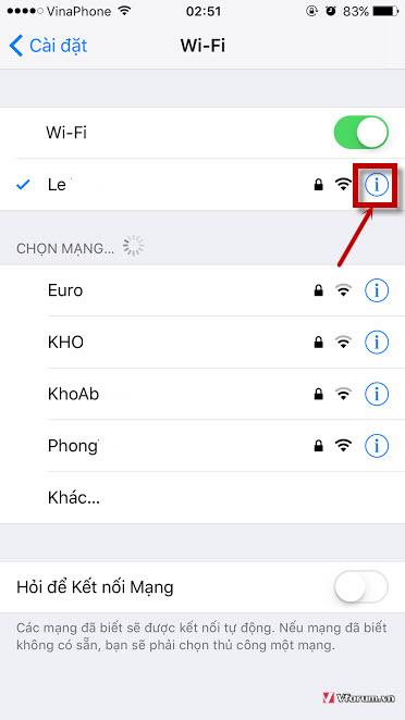 Các bước đổi DNS Google cho iPhone