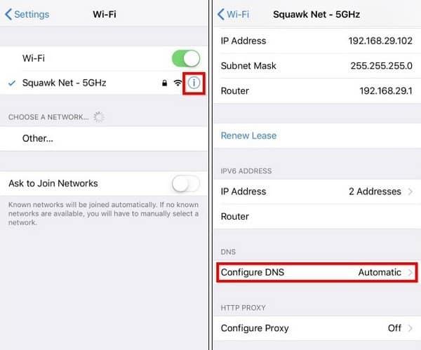 Cách chỉnh DNS Google trên iPhone
