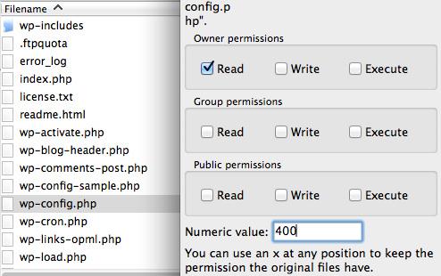 CHMOD cho File wp-config.php để hạn chế bị hack local