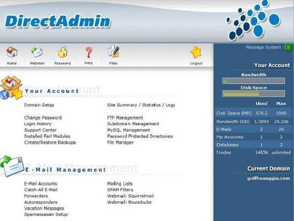 Trình quản lý File có giao diện đồ họa chính là DirectAdmin