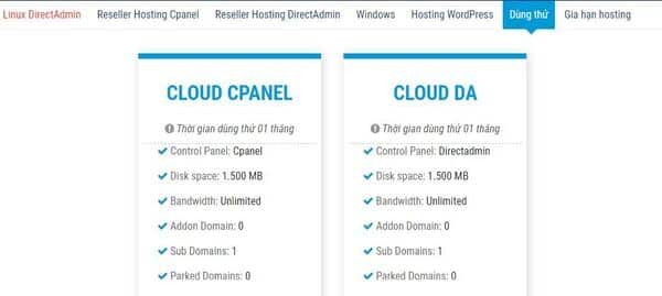 Dùng thử hosting trước khi mua