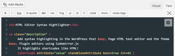HTML Editor Syntax Highlighter giúp plugin hỗ trợ soạn thảo trong wordpress