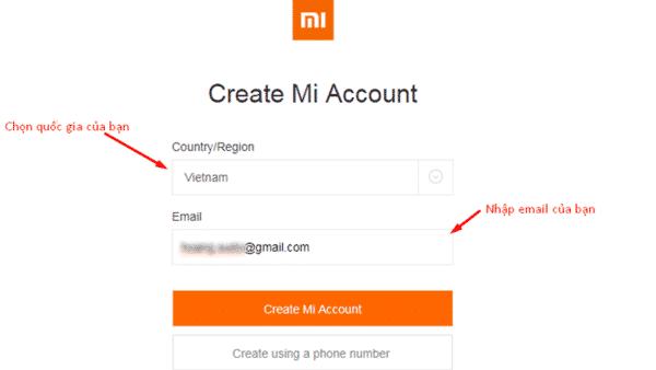 Hướng dẫn đăng ký Mi Cloud