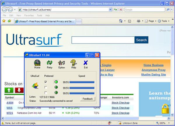 Phần mềm Fake địa chỉ IP UltraSurf