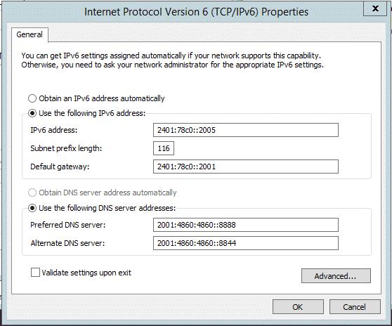 Cách kết nối ipv6