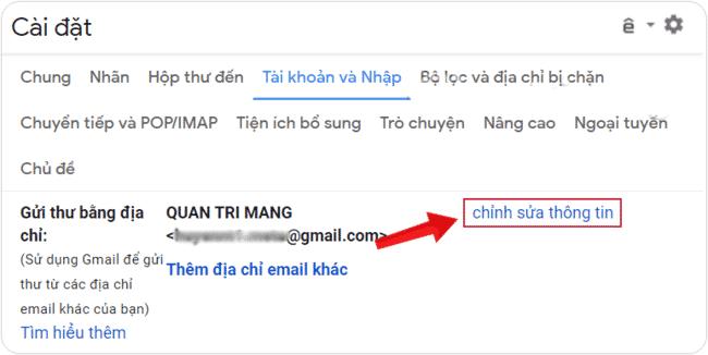 Chỉnh sửa thông tin và đổi tên email