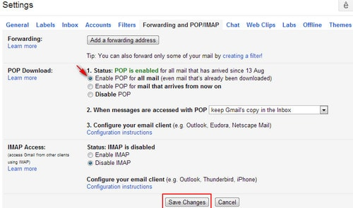 Chọn chức năng Enable POP for all mail
