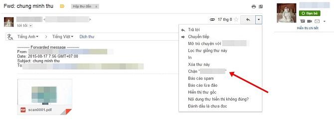 chọn mục Chặn có kèm theo tên người gửi để chặn email từ người dùng