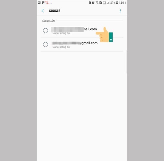 Chọn vào tài khoản Gmail muốn đăng xuất