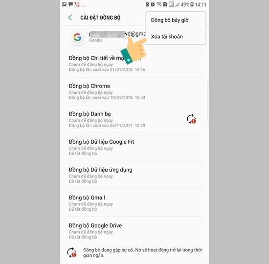 Chọn xoá tài khoản để hoàn thành đăng xuất email trên android