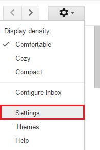 đăng nhập gmail, sau đó click vào biểu tượng hình răng cưa ở góc cùng bên phải chọn Setting