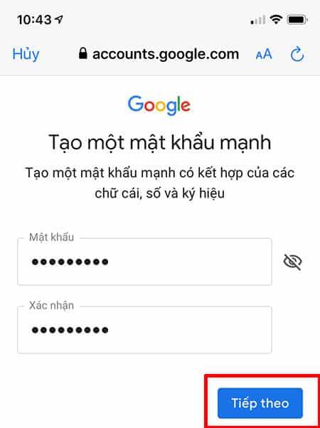 điền và xác nhận mật khẩu email