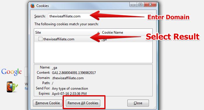 Sửa lỗi 400 bad request bằng cách xóa Cookie của website trên trình duyệt Firefox 3