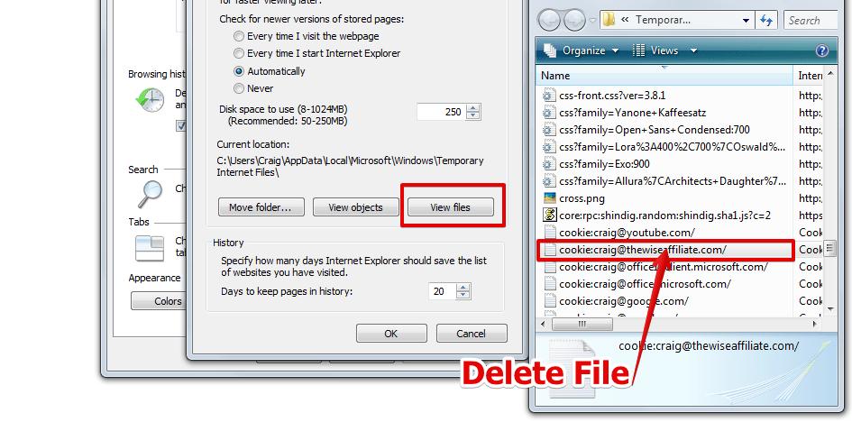 Khắc phục lỗi  400 bad request bằng cách xóa Cookie của website trên trình duyệt Internet Explorer 2