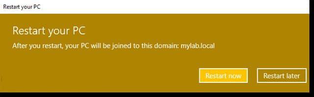 Khởi động lại máy tính và hoàn tất quá trình Join Domain