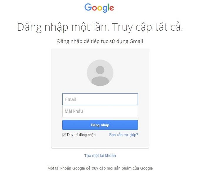 lựa chọn tài khoản gmail cần chặn gửi email