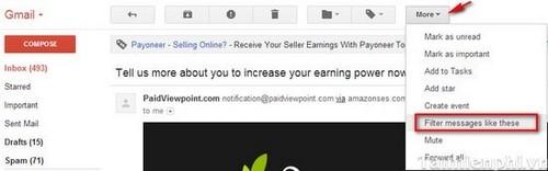 nhấn chuột vào More trên thanh menu ngang và sau đó chọn Filter messages like this để lọc thư (chặn email rác)