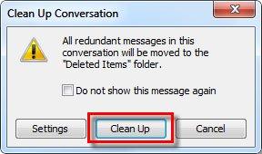 nhấn vào Clean Up trên hộp thoại