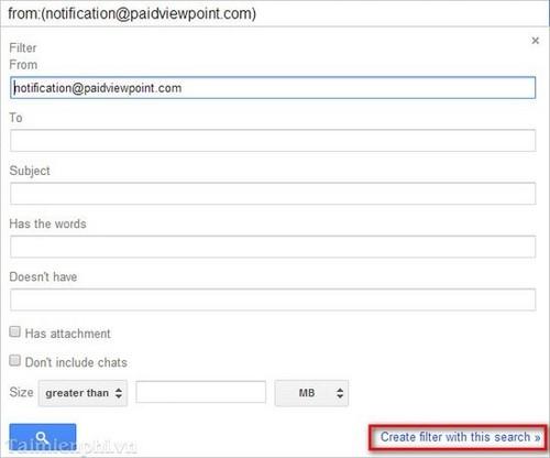 tại mục From nhập địa chỉ email của người muốn chặn