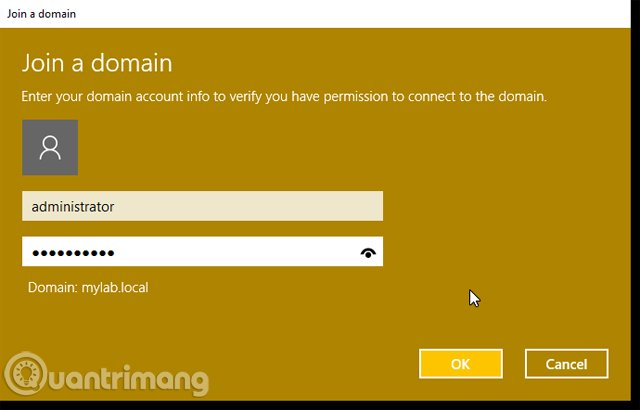 Xác định tên miền muốn tham gia và tên người dùng
