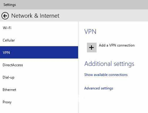 Click vào Add A VPN Connection