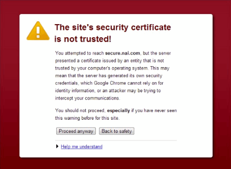Server's certificate is not trusted