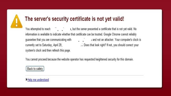 The server's certificate security is not yet valid
