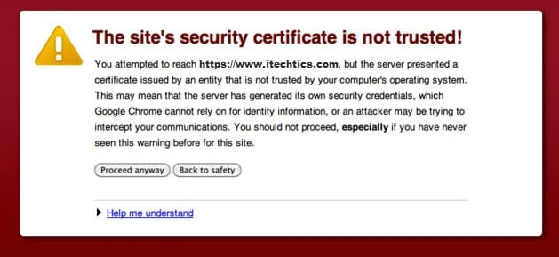 The sites security certificate is not trusted