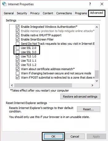Tích vào tùy chọn Use SSL 2.0 và Use SSL 3.0 và để trống các tùy chọn khác