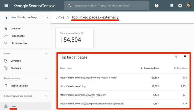 Cách kiểm tra backlink của website bằng Search Console
