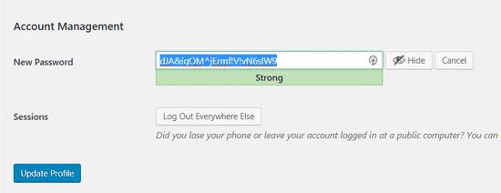 Cách thay đổi mật khẩu WordPress 2