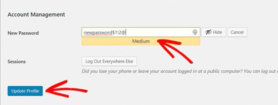 Cách thay đổi mật khẩu WordPress 3