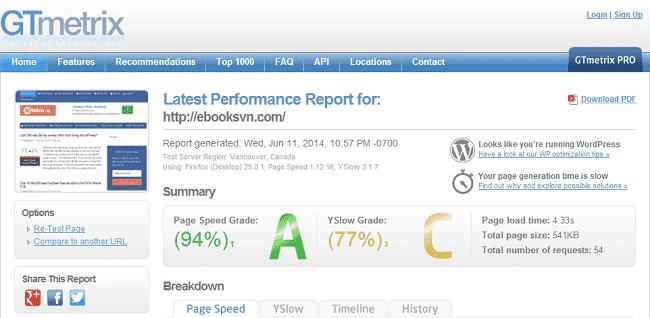 Kiểm tra tốc độ hosting với GTmetrix