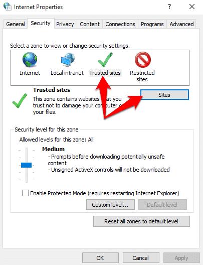 chọn tab Security và chọn Trusted sites và nhấn chọn Sites
