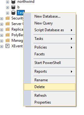 Click vào Database muốn xóa và chọn Delete