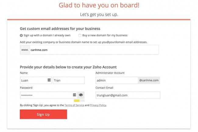 Đăng ký tài khoản Zoho Mail 1