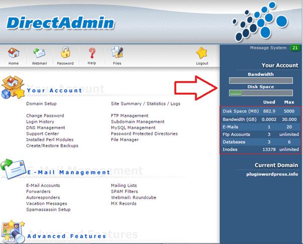 Đăng nhập Directadmin để kiểm tra dung lượng Hosting của website
